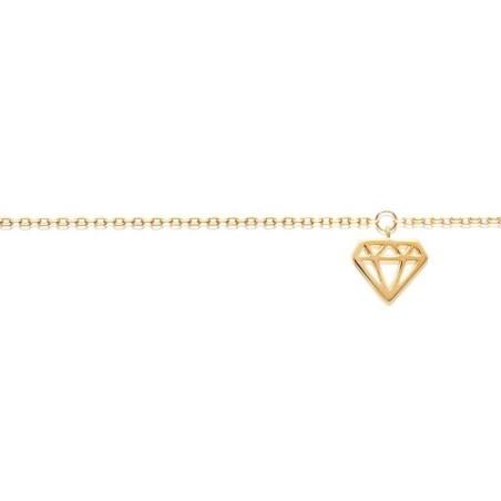 Chaîne de cheville pour femme en plaqué or jaune 18k, Diamant