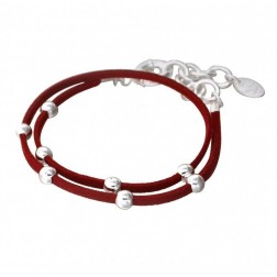 Bracelet Double Créateur en argent 925 et suédine rouge, Univers