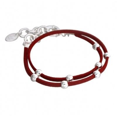 Bracelet Double Créateur en argent et suédine rouge - Univers
