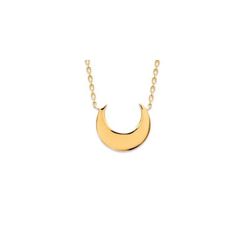 collier en plaqué or pour femme, pendentif lune - Bijoux femme
