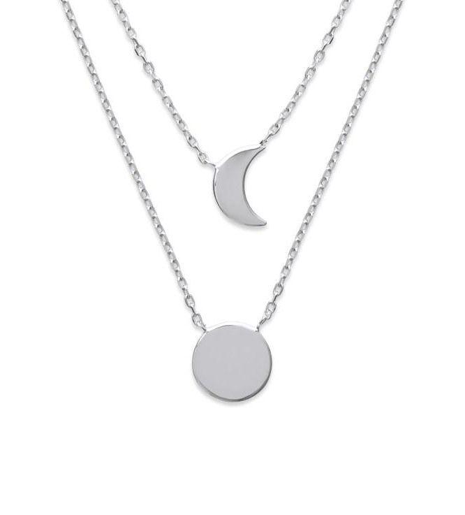 collier femme argent lune