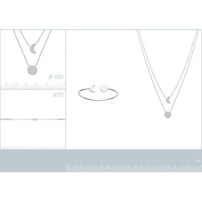 Bracelet jonc Lune pour femme en argent rhodié 925, Ysala