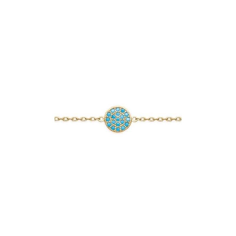 Bracelet en plaqué or et pierre turquoise pour femme - Dina - Lyn&Or Bijoux