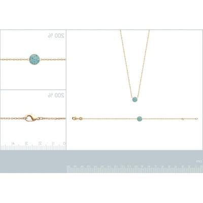 Bracelet pour femme en plaqué or 18k et pierre turquoise, Dina