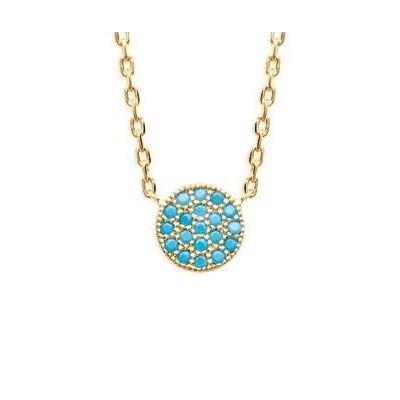 Collier pour femme en plaqué or jaune et pierre turquoise, Dina