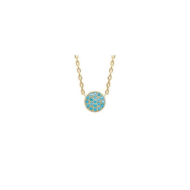Collier en plaqué or et pierre turquoise pour femme - Dina - Lyn&Or Bijoux