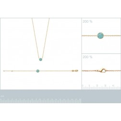Collier pour femme en plaqué or 18k et pierre turquoise, Dina