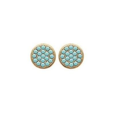 Boucles d'oreilles plaqué or 18k, pierre turquoise, Dina