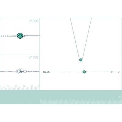 Bracelet pour femme en argent et pierre turquoise, Cassandra