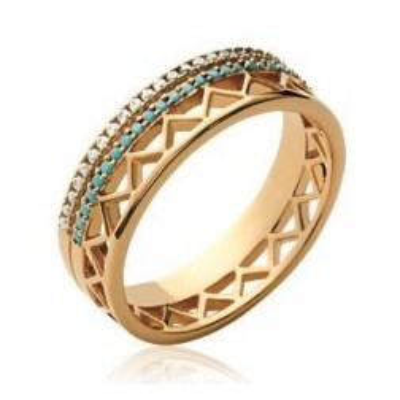 Bague pour femme en plaqué or et zircon et pierre turquoise, Cannelle