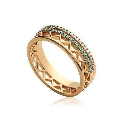 Bague en plaqué or et zircon et pierre turquoise - Cannelle - Lyn&Or Bijoux
