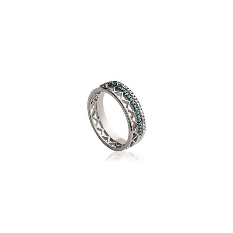 Bague femme en argent, zircon et pierre turquoise - Dona - Lyn&Or Bijoux