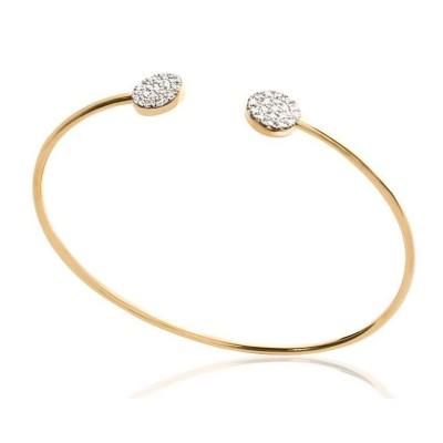 Bracelet Jonc pour femme en plaqué or et zircon, Lara