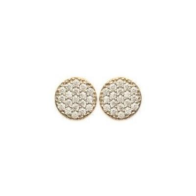 Boucles d'oreilles pour femme en plaqué or et zircon, Lara
