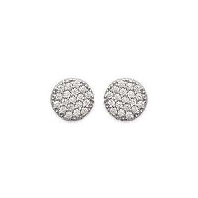 Boucles d'oreilles pour femme en argent rhodié et zircon, Solia