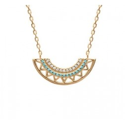 Collier pour femme en plaqué or et pierre turquoise, Cannelle