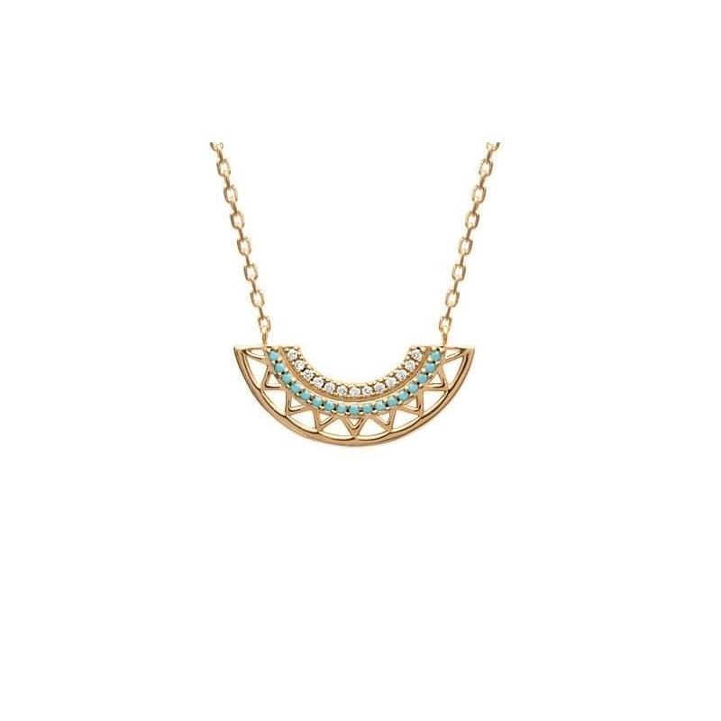 Collier en plaqué or et pierre turquoise pour femme - Cannelle - Lyn&Or Bijoux