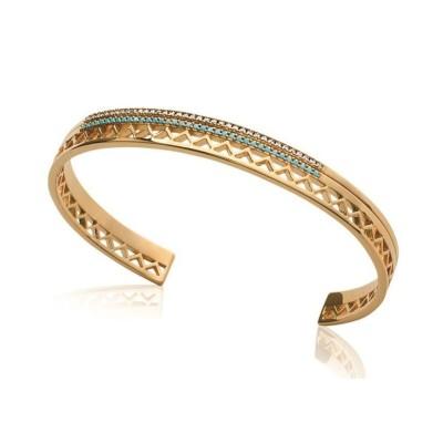 Bracelet Jonc pour femme en plaqué or et pierre turquoise, Cannelle