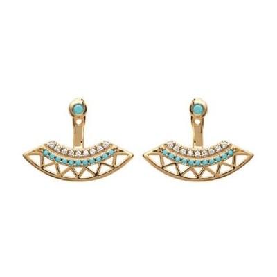 Lobes d'oreille plaqué or, oz,pierre turquoise pour femme - Cannelle - Lyn&Or Bijoux