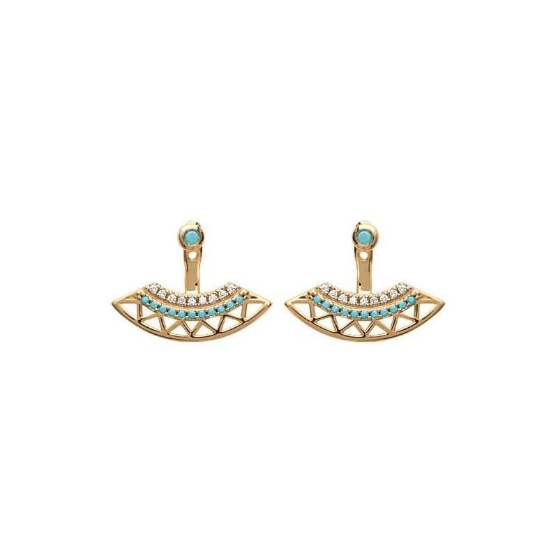 Lobes d'oreilles plaqué or, oz,pierre turquoise pour femme - Cannelle - Lyn&Or Bijoux