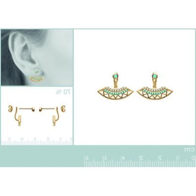 Lobes d'oreilles plaqué or, oz, pierre turquoise, Cannelle