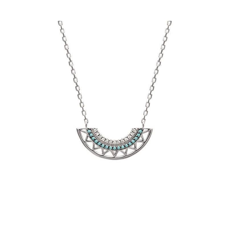 Collier pour femme en argent rhodié et pierre turquoise, Dona