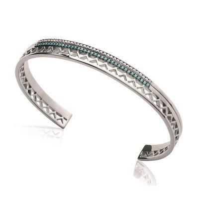 Bracelet Jonc en argent rhodié et pierre turquoise pour femme - Dona - Lyn&Or Bijoux