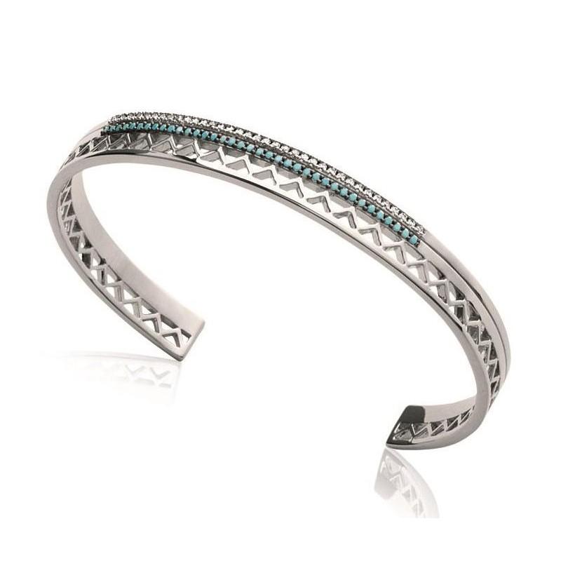 Bracelet Jonc pour femme en argent rhodié et pierre turquoise, Dona