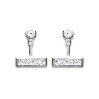 Lobes d'oreilles pour femme, Argent rhodié & zircon rectangulaire - Erina - Lyn&Or Bijoux