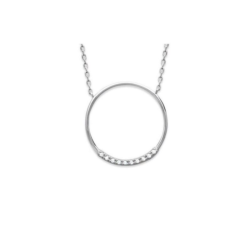Collier créateur en argent rhodié et zircon pour femme - Manille - Lyn&Or Bijoux