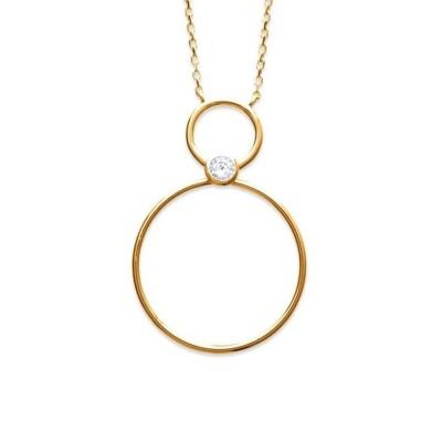 Collier avec anneau pour femme en plaqué or et zircon, Mariage
