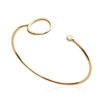 Bracelet Jonc avc anneau pour femme en plaqué or et zircon, Mariage
