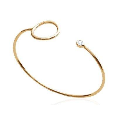 Bracelet Jonc femme, anneau en plaqué or et zircon - Mariage - Lyn&Or Bijoux