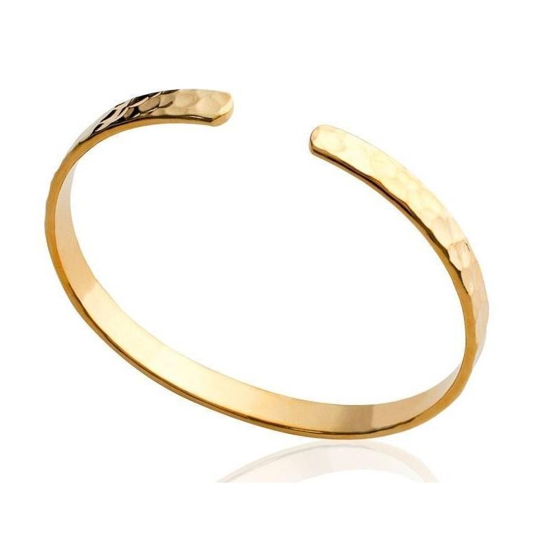 Bracelet Jonc en plaqué or frappé pour femme - Tijuana - Lyn&Or Bijoux