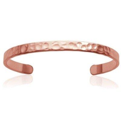Bracelet Jonc en plaqué or rose frappé pour femme - Tijuana - Lyn&Or Bijoux