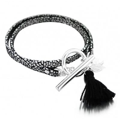 Bracelet double Zoé en argent 925 et cuir craquelé, Pompon noir