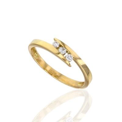 bague en or pour femme - Or jaune et trois diamants solitaire