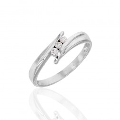 Bague trois diamants et or blanc pour femme, bague de fiançailles