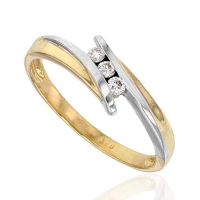 Bague femme en or bicolore & 3 diamants - Trilogie - Lyn&Or Bijoux