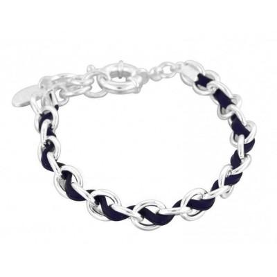 Bracelet double Zoé en argent 925 et cuir bleu, Entrelacs