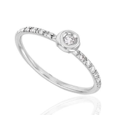 Bague de fiançailles pour femme, Diamants & or blanc - Bella - Lyn&Or Bijoux