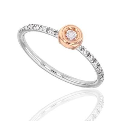 Bague de fiançailles pour femme, Diamants & or bicolore - Bella - Lyn&Or Bijoux