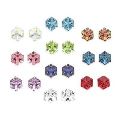 Boucles d'oreilles multicolores en cristal, cubes, pour femme