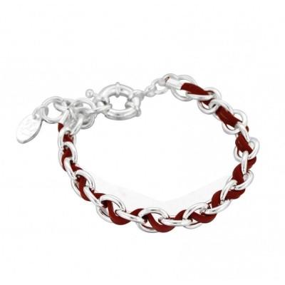 Bracelet double Zoé en argent 925 et cuir rouge, Entrelacs
