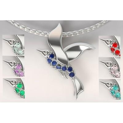 Collier de créateur en argent: oiseau cayouckette et topazes multicolores
