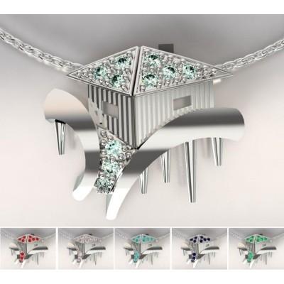 Collier créateur cabanon en argent, Topaze multicolores pour femme