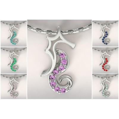 Collier créateur hippocampe en argent Topaze coloré
