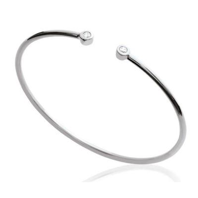 Bracelet Jonc en argent rhodié et zircon pour femme