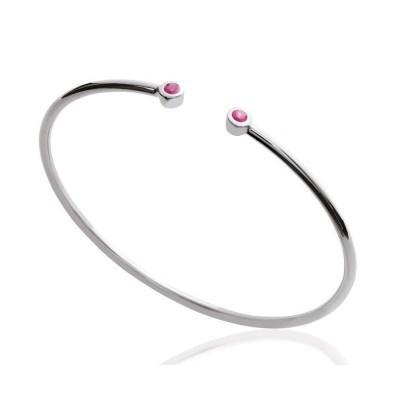 Bracelet Jonc en argent rhodié et zircon rose pour femme