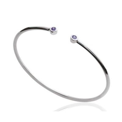Bracelet Jonc en argent rhodié et zircon violet pour femme